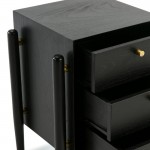 Bedside Table 3 Drawers 50X40X61 Wood Black
