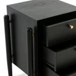 Table de chevet 3 tiroirs 50x40x61 Bois Noir