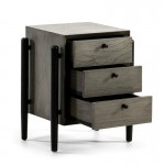 Bedside Table 3 Drawers 50X40X61 Wood Grey Black