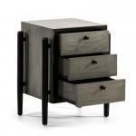 Table de chevet 3 tiroirs 50x40x61 Bois Gris Noir