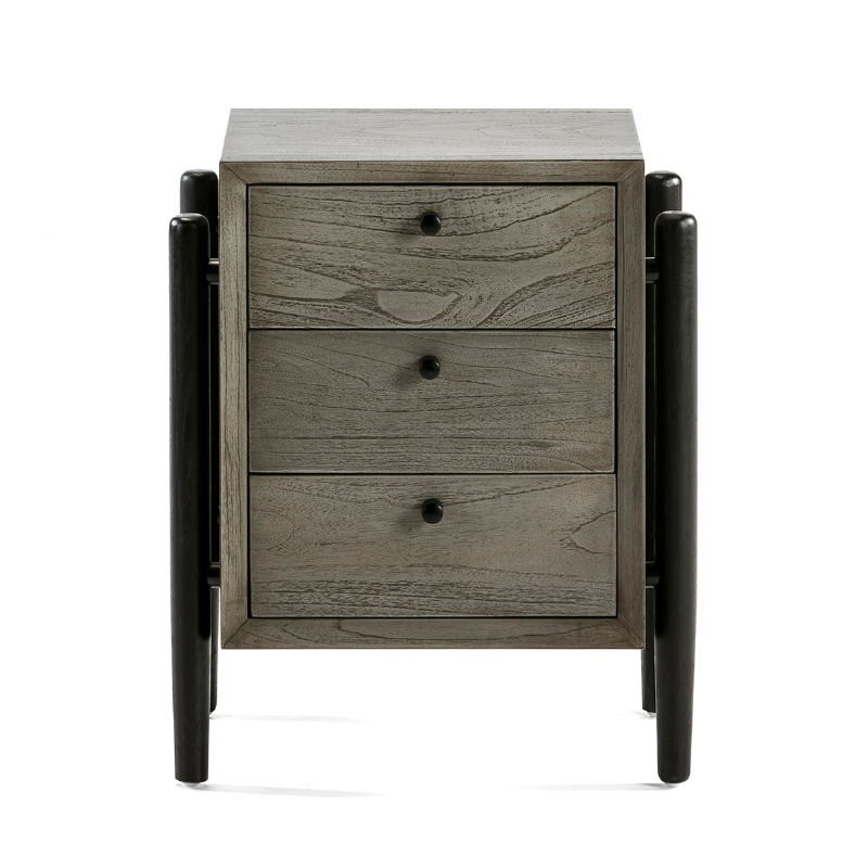 Bedside Table 3 Drawers 50X40X61 Wood Grey Black - image 51771