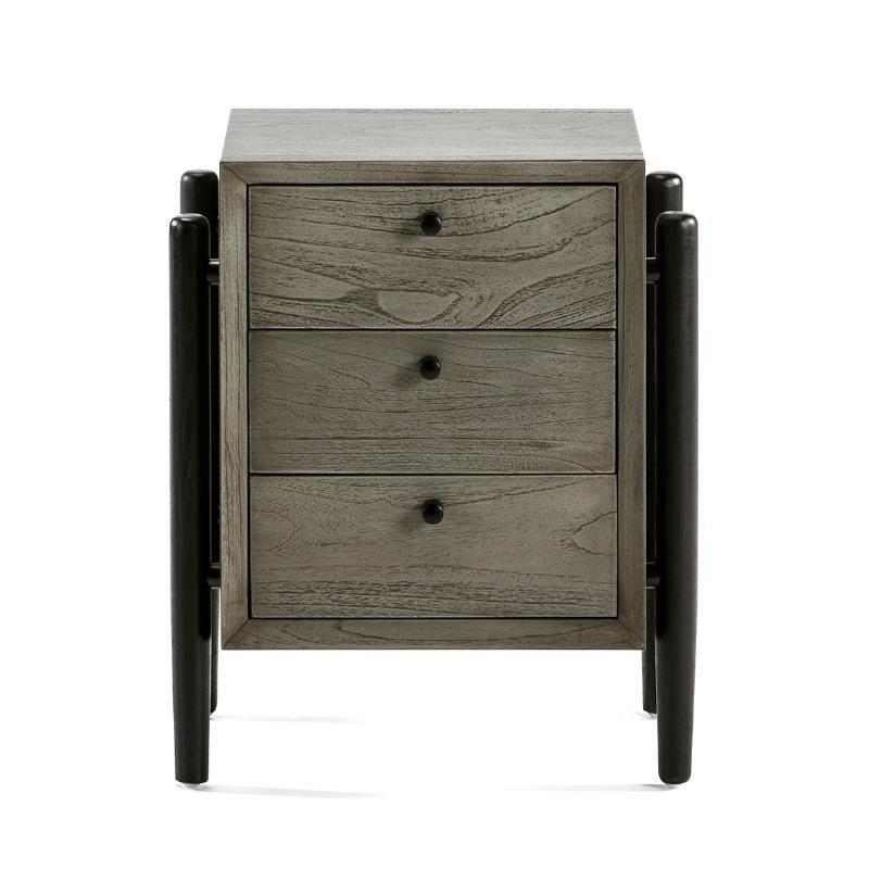 Table de chevet 3 tiroirs 50x40x61 Bois Gris Noir - image 51771