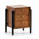 Table de chevet 3 tiroirs 50x40x61 Bois Brun Noir