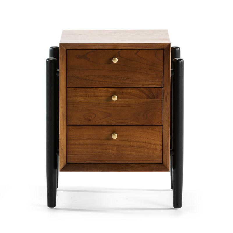 Bedside Table 3 Drawers 50X40X61 Wood Brown Black - image 51775