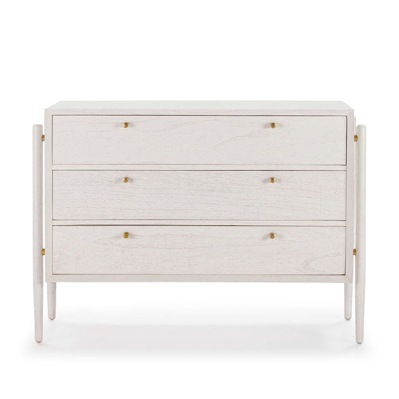 Chest Of Drawers 3 Drawers 125X45X90 Wood White - image 51782