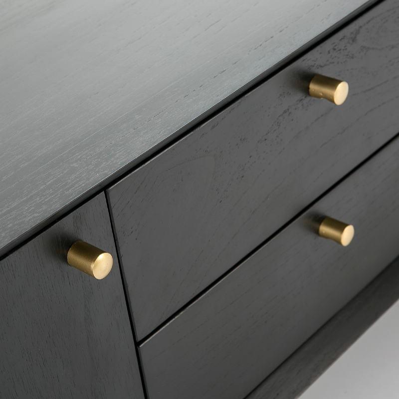 Meuble TV 2 portes 2 tiroirs 160x40x50 Bois Noir - image 51784