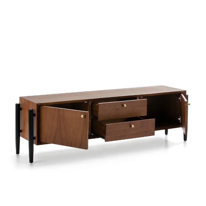 Tv Furniture 2 Doors 2 Drawers 160X40X50 Wood Brown Black - image 51793