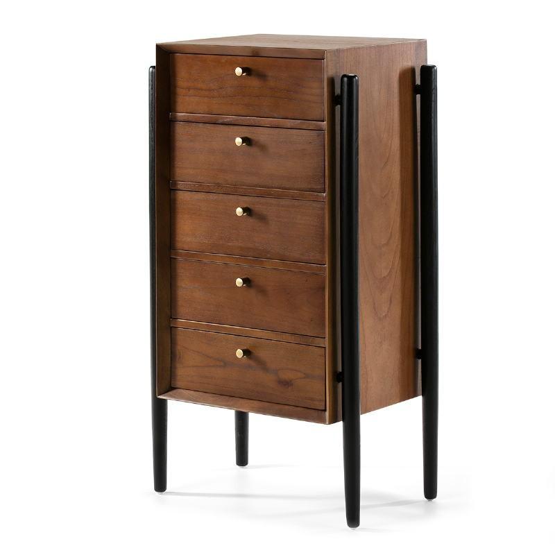 Chiffonier 5 Drawers 60X40X110 Wood Brown Black - image 51799