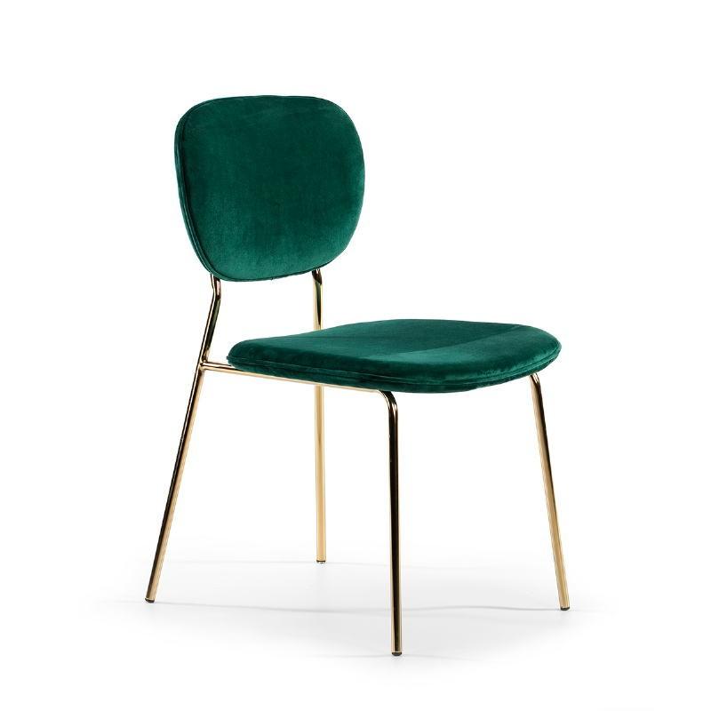 Chair 45X55X82 Metal Golden Fabric Green