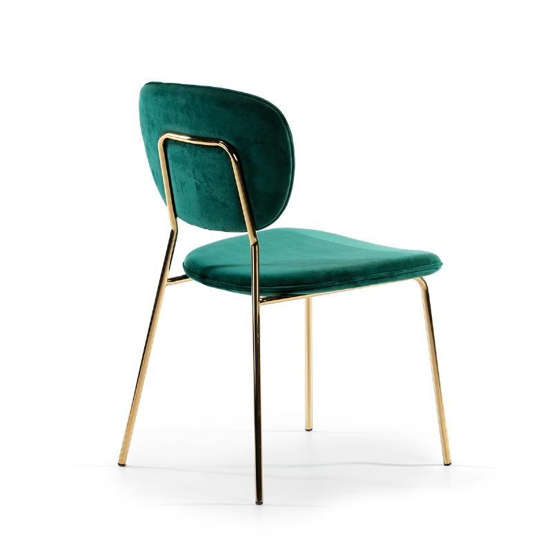 Chaise 45x55x82 Métal Doré tissu velours Vert - image 51805