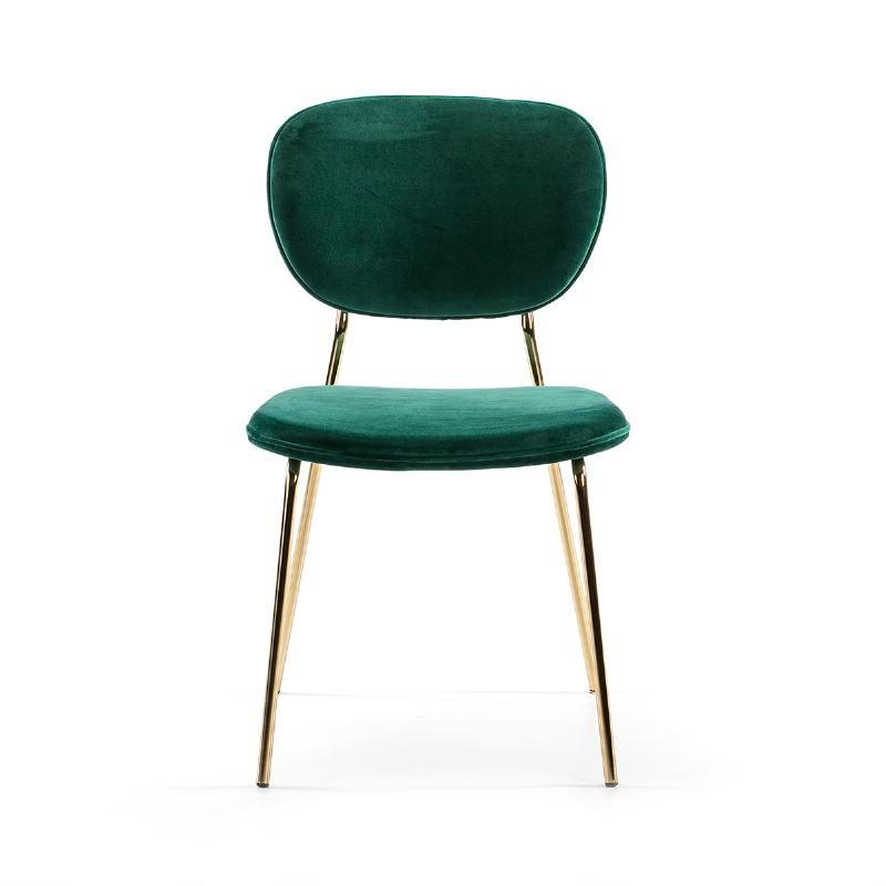 Chaise 45x55x82 Métal Doré tissu velours Vert - image 51806