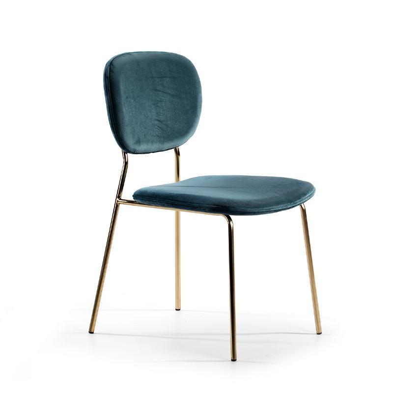 Chaise 45x55x82 Métal Doré tissu velours Bleu