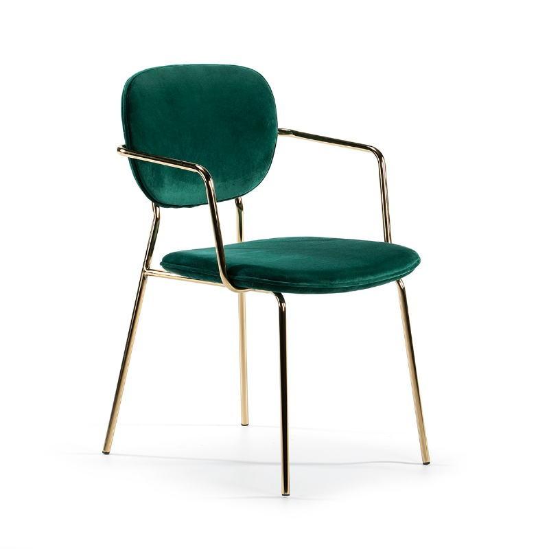 Chaise accoudoirs 55x55x82 Métal Doré tissu velours Vert - image 51811