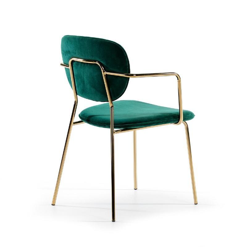 Chaise accoudoirs 55x55x82 Métal Doré tissu velours Vert - image 51813