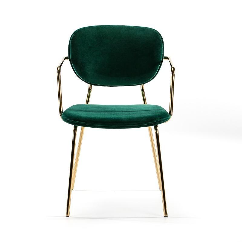 Chaise accoudoirs 55x55x82 Métal Doré tissu velours Vert - image 51814