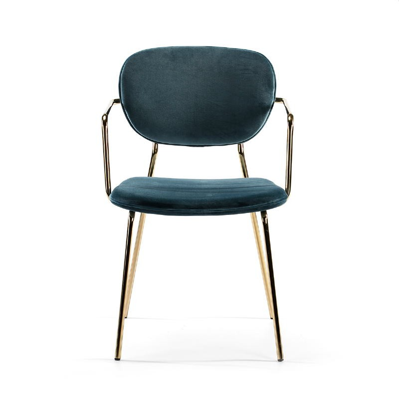 Chair Armrests 55X55X82 Metal Golden Fabric Blue - image 51819