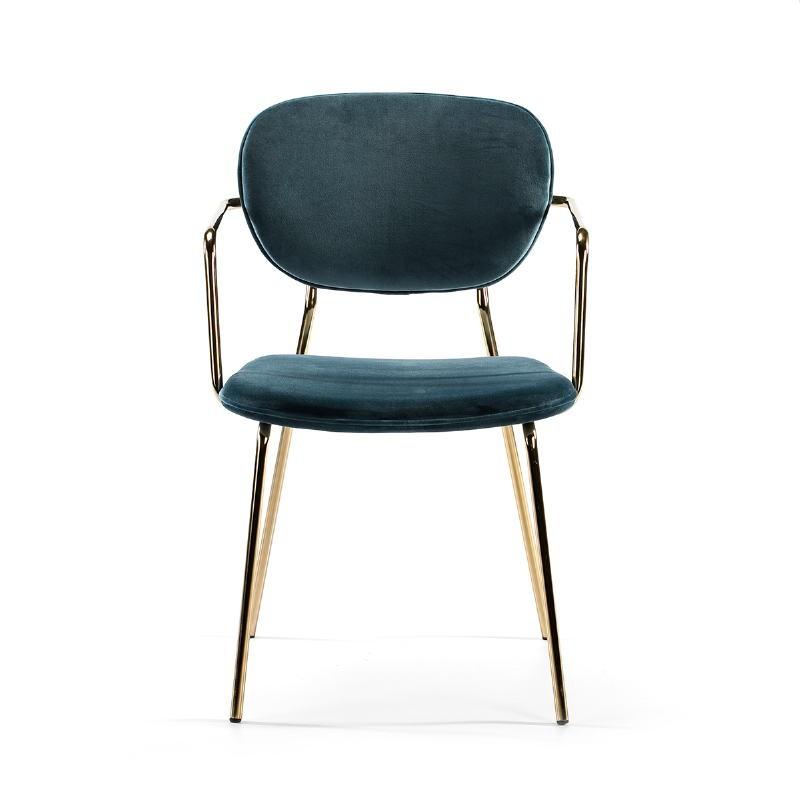 Chaise accoudoirs 55x55x82 Métal Doré tissu velours Bleu - image 51819
