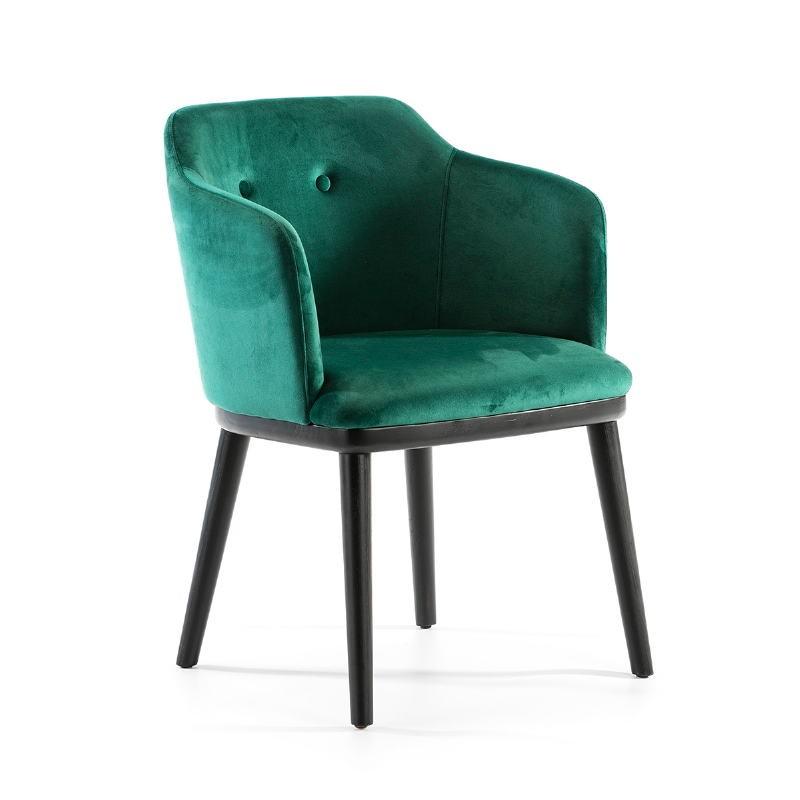 Chair 61X48X78 Wood Black Fabric Green