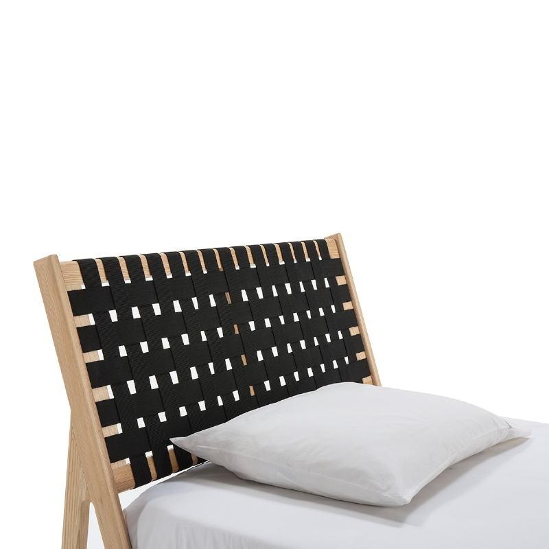 Bed 112X205X97 Ash Wood Natural Fabric Black - image 51837