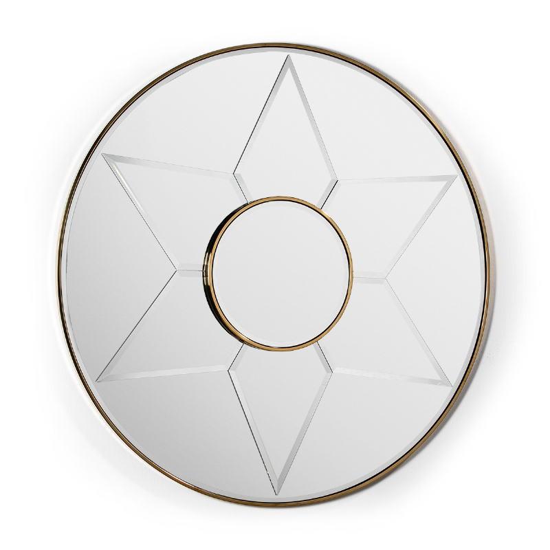 Mirror 120X4X120 Glass Metal Golden Model 2