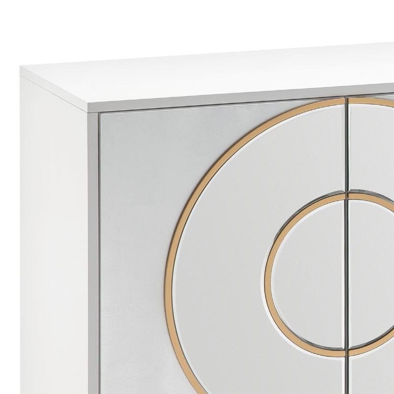 Anrichte 4 Türen 180X45X80 Mdf Weiß/Silberfolie/Spiegel/Mdf Golden - image 51856
