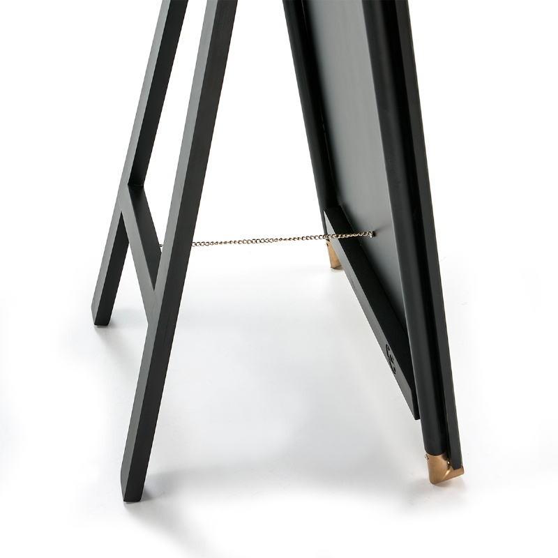 Mirror 60X5X180 Glass Mdf Black Metal Golden Black - image 51878