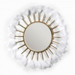 Miroir 103x4x103 Verre Métal Doré Plumes Blanc