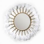 Espejo 103X4X103 Cristal Metal Dorado Plumas Blanco
