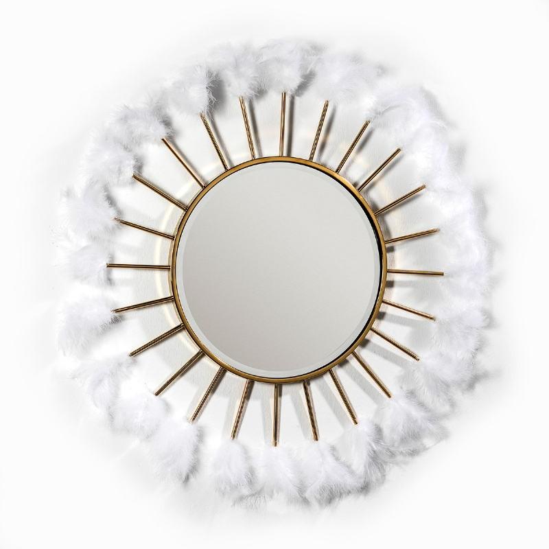 Mirror 103X4X103 Glass Metal Golden Feathers White - image 51879