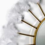 Mirror 103X4X103 Glass Metal Golden Feathers White