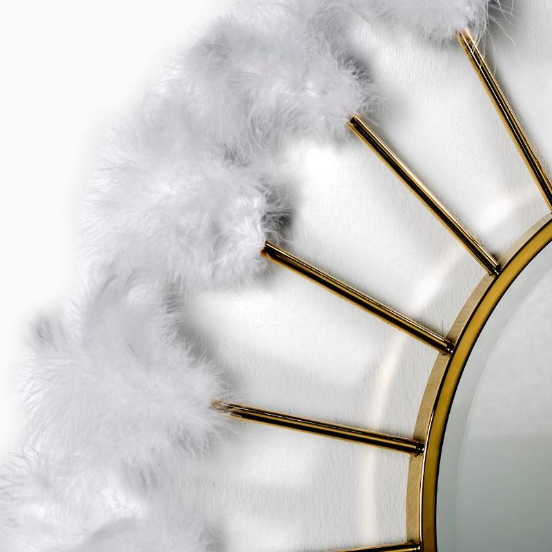 Mirror 103X4X103 Glass Metal Golden Feathers White - image 51880
