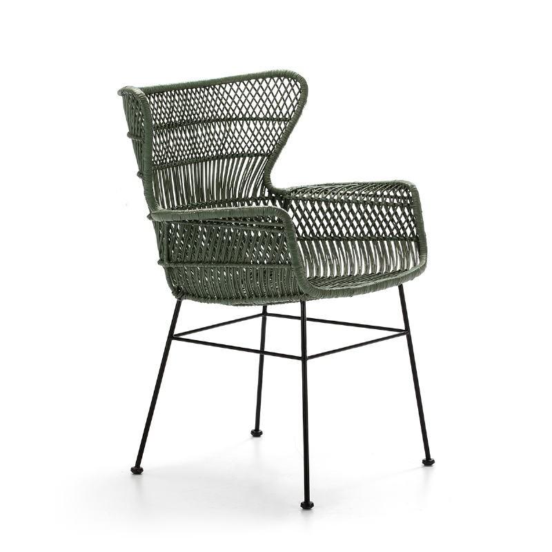 Chaise accoudoirs 60x65x89 Métal Noir Osier Vert