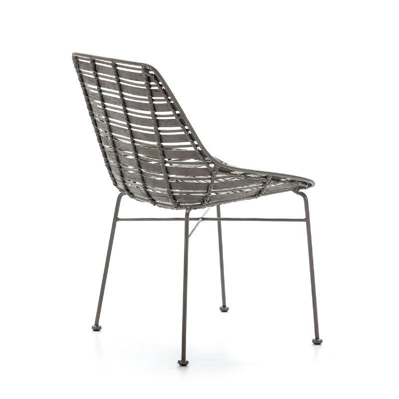 Chair 55X54X81 Metal Grey Wicker Grey - image 51909