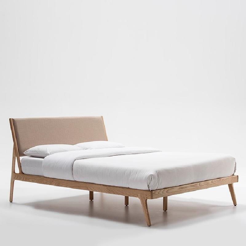 Bed 157X205X97 Ash Wood Linen Beige - image 51926
