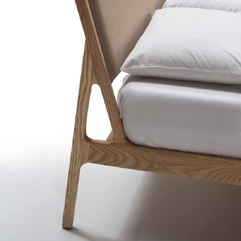 Bed 157X205X97 Ash Wood Linen Beige - image 51927