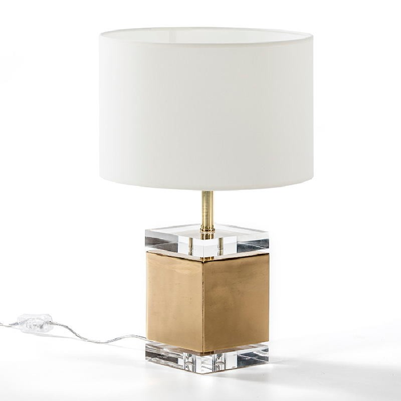 Table Lamp Without Lampshade13X13X34 Acrylic Metal Golden - image 51943