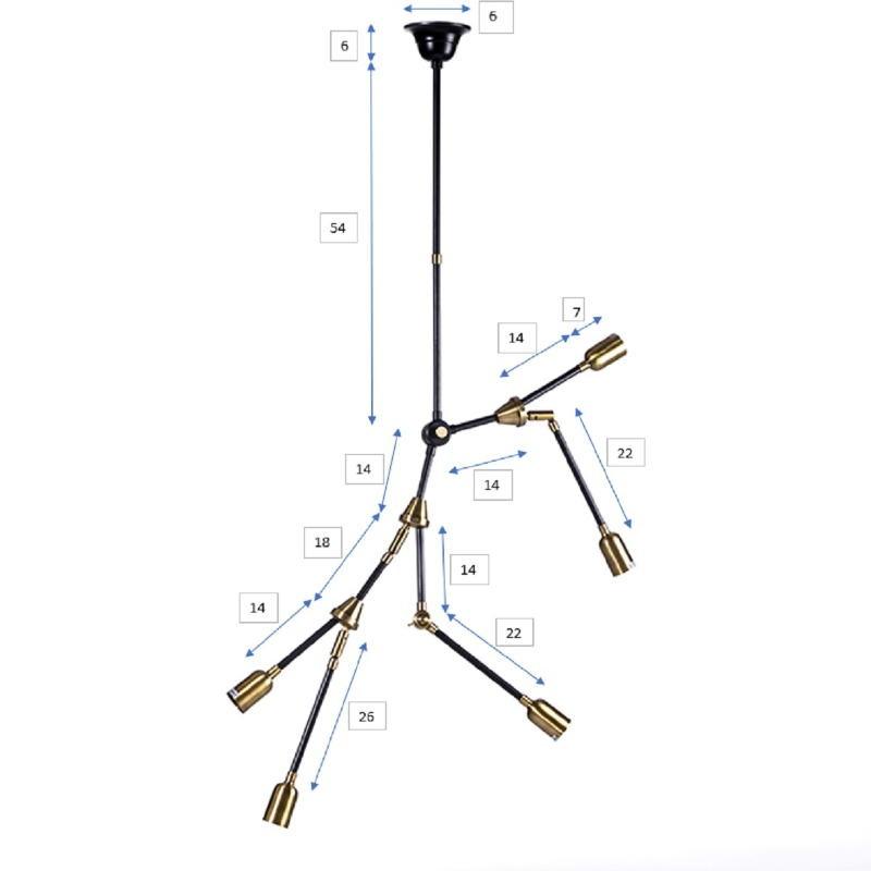 Hanging Lamp 100X6X101 Metal Golden Black - image 51953