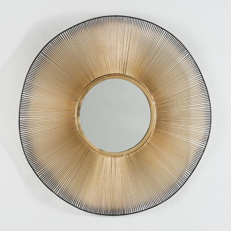 Spiegel 75X4X75 Glas/Metall Golden/Schwarz - image 52003