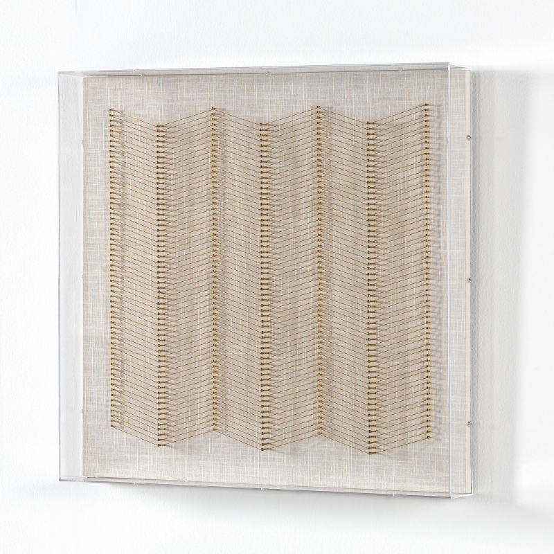 Tableau 60x8x60 Fils Doré Acrylique Transparent - image 52015