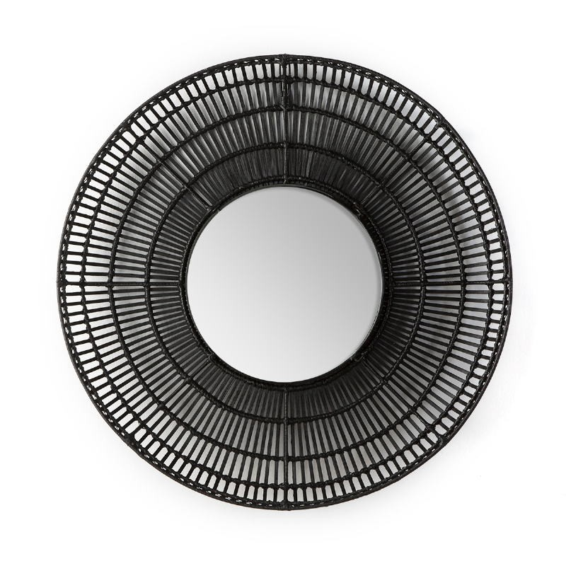 Miroir 90x8x90 Verre Osier Noir - image 52035