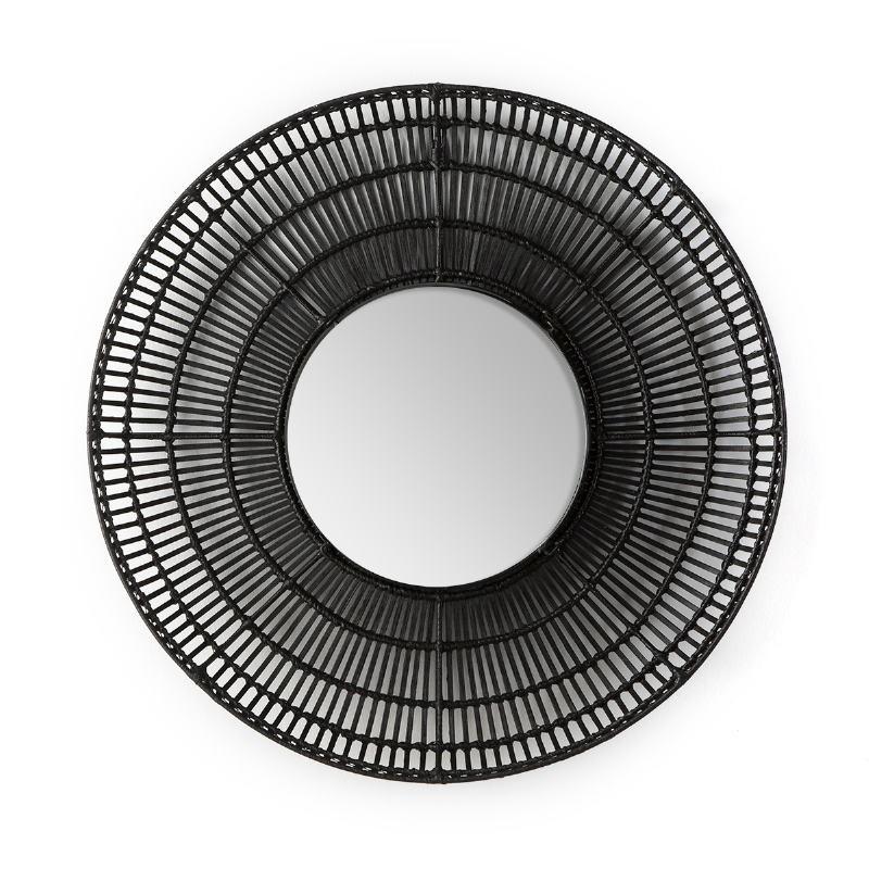 Mirror 90X8X90 Glass Wicker Black - image 52035