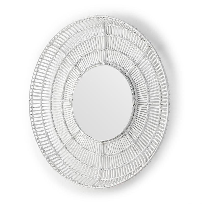 Mirror 90X8X90 Glass Wicker White - image 52036