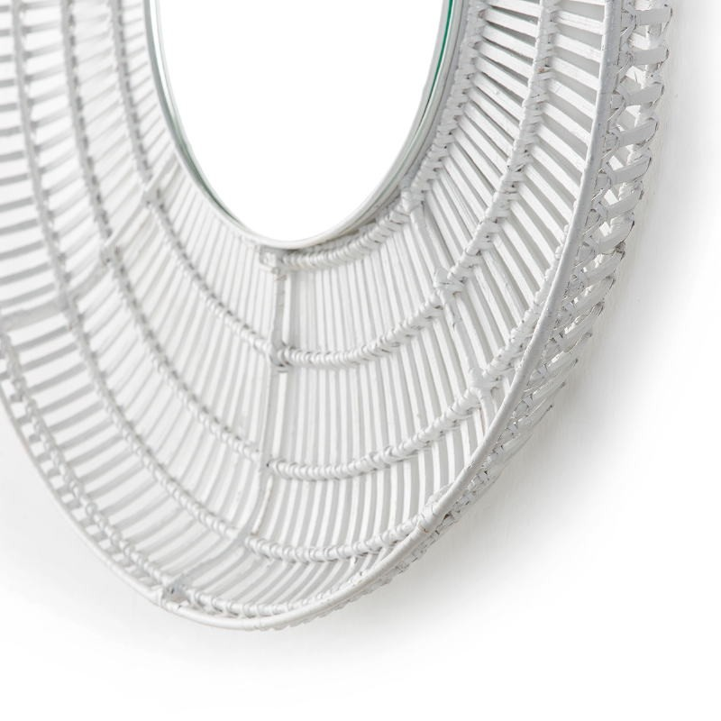 Mirror 90X8X90 Glass Wicker White - image 52038