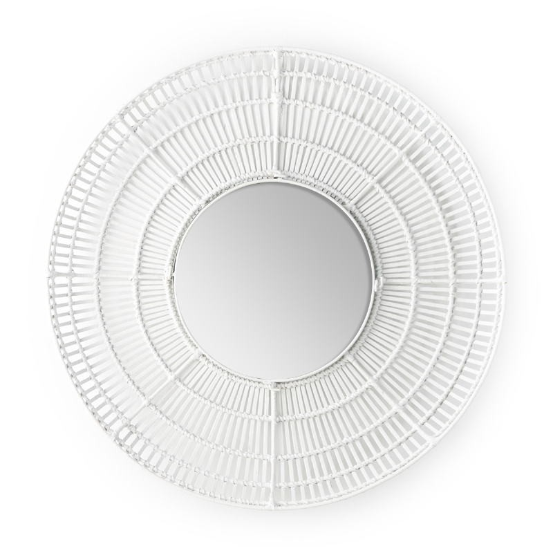 Mirror 90X8X90 Glass Wicker White - image 52039