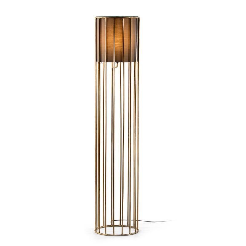 Lámpara De Pié 30X30X145 Metal Dorado Con Pantalla Marrón
