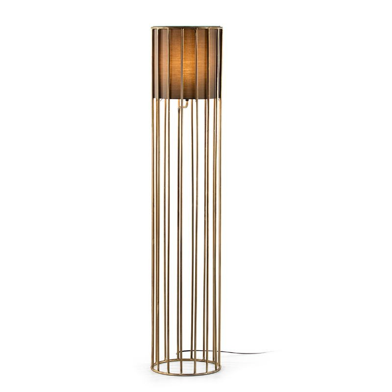 Standard Lamp 30X30X145 Metal Golden With Lampshade Brown - image 52098