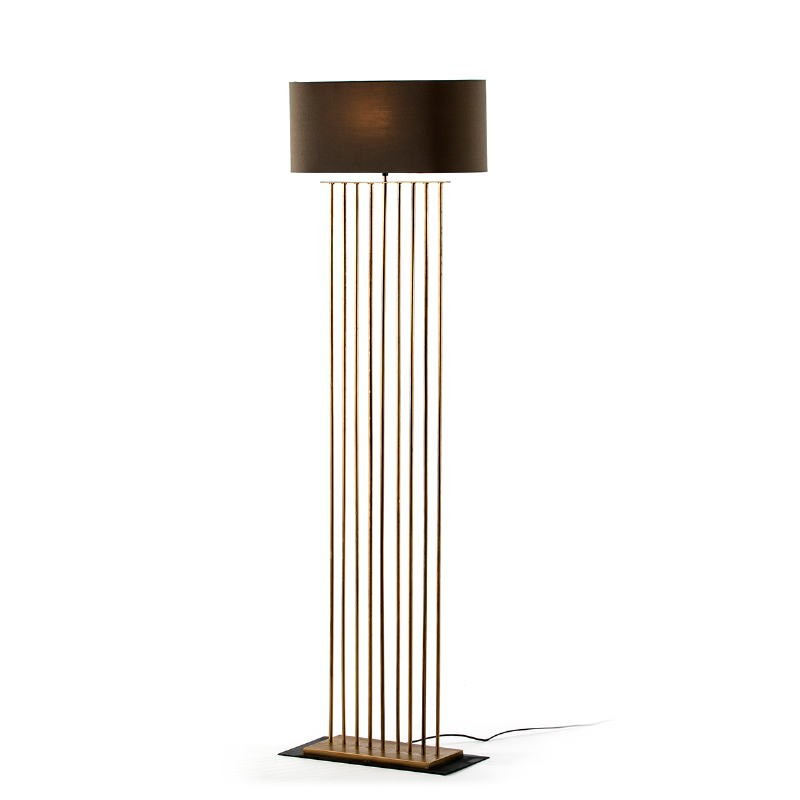 Lámpara De Pié 47X21X139 Metal Dorado Con Pantalla Gris - image 52102