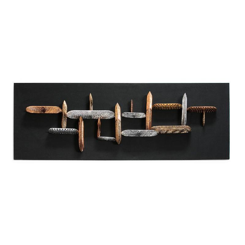 Skulptur 80X11X180 Stoff Schwarz/Holz Mehrfarbig - image 52148