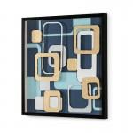 Frame 80X4X80 Glass Wood Black Multicolor