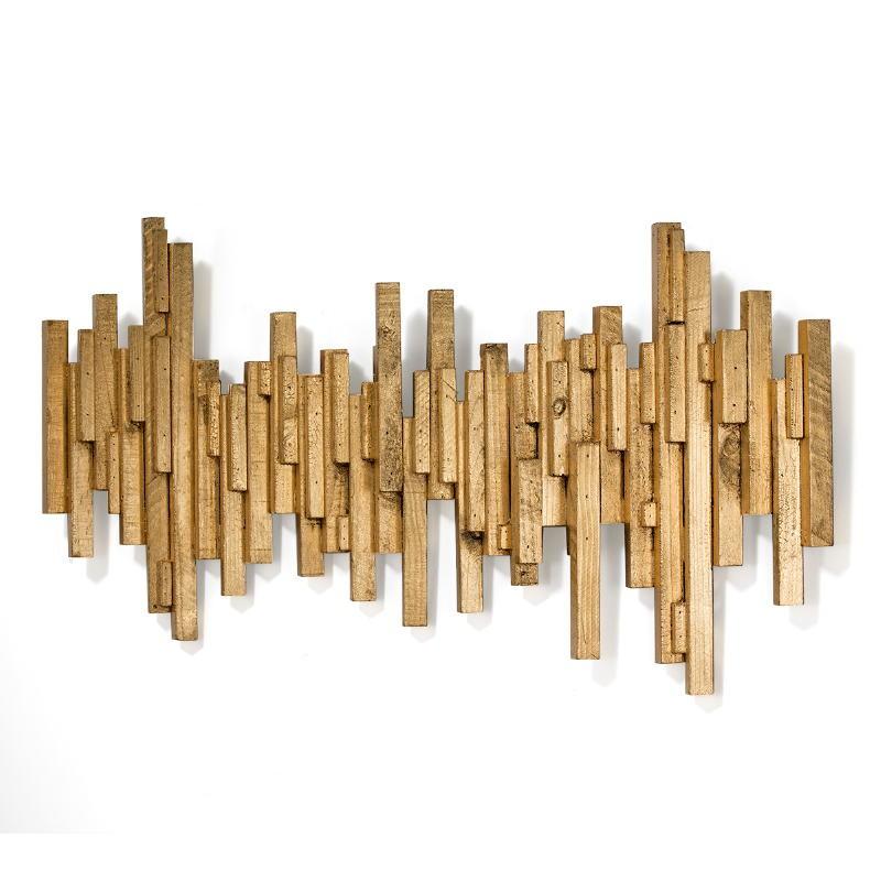 Skulptur 160X8X80 Holz Golden